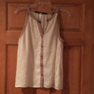 Kensie cream and taupe button tank